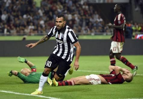 гол Тевеса в ворота Милана
