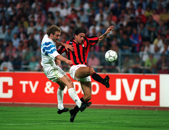 Football. UEFA Champions League Final. Munich, Germany. 26th May 1993. Marseille 1 v AC Milan 0. Marseille's Rudi Voller (left) and AC Milan's Alessandro Costacurta battle for the ball.