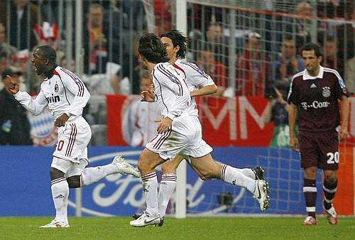 AC Milan's Seedorf celebrates after scoring a goal against Bayern Munich during their UEFA Champions League quarter-final soccer match in Munich