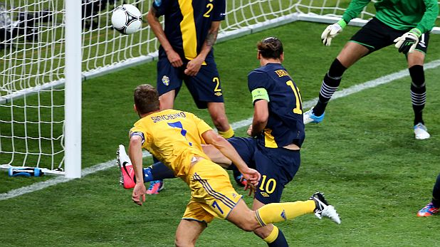 KIEV, UKRAINE - JUNE 11: Andriy Shevchenko of Ukraine scores their second goal during the UEFA EURO 2012 group D match between Ukraine and Sweden at The Olympic Stadium on June 11, 2012 in Kiev, Ukraine. (Photo by Martin Rose/Getty Images)