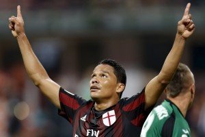 AC Milan's Carlos Bacca celebrates after scoring against Empoli during their Serie A soccer match at San Siro stadium in Milan, August 29, 2015. REUTERS/Giampiero Sposito
