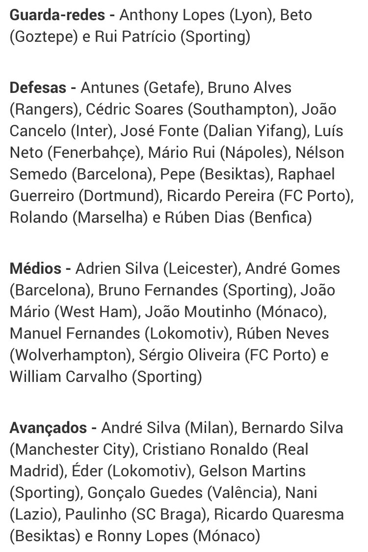 Заявка сборной Португалии на ЧМ-2018